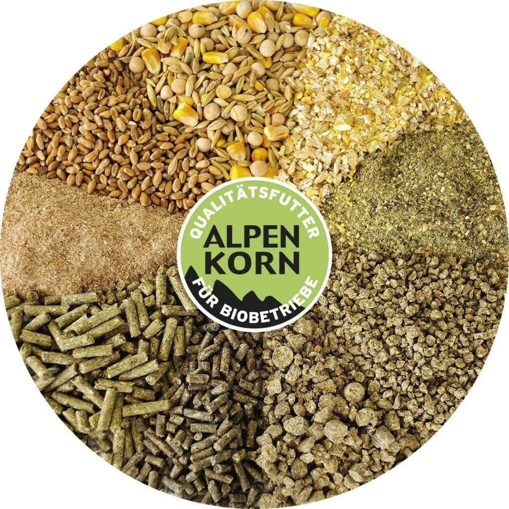 Verschiedenste Futtersorten von Alpenkorn dargestellt in einem Kreissegment..