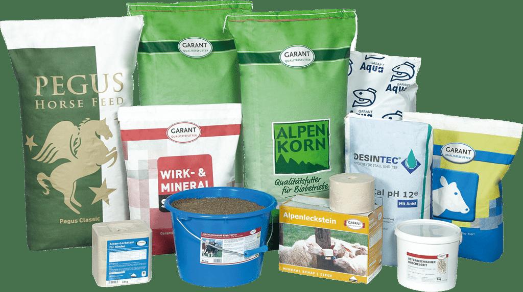 Biofutter Sortiment von GARANT für das Wild- und Kleintiersegment, als auch für Pferde.